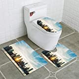 BEISISS Bathroom Mat Sets 4 Piece-Non-Slip - Short Plush Sunburst Between Buildings of The Manhattan Skyline in NYC Bathroom Rug + Contour pad + lid Toilet seat+Toilet seat Cushion