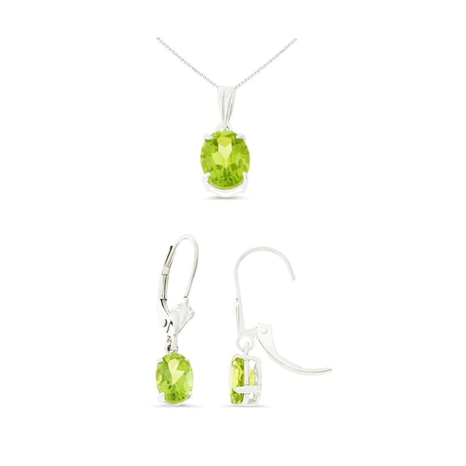 14K White Gold Oval Shaped Genuine Peridot Leverback Earrings + Pendant With Square Rolo Chain Necklace