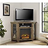 Walker Edison Jackson Collection W48FPCRBW 48'' Wood Corner Media TV Stand Console with Double Doors and Electric Fireplace in (Barnwood)