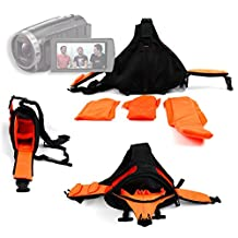 DURAGADGET Deluxe Triangle 'Sling' Carry Bag In Black & Orange For NEW Sony FDR-AX53 4K Handycam - With Adjustable Interior Compartments & Multiple Pockets