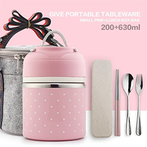 Portable Cute Japanese Lunch Box Leakproof Thermal For Food Stainless Steel Bento Box Kids School Picnic Food Container Small Pink Set 1 - Box Lunch Metal Transformer