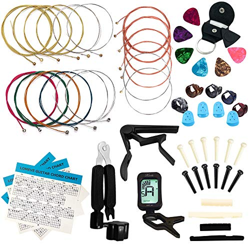 LOMEVE Guitar Accessories Kit Include Acoustic Guitar Strings, Tuner, Capo, 3-in-1 Restring Tool, Picks, Pick Holder, Bridge Pins, Nuts & Saddles, Finger Protector, Finger Picks, Chord Chart (58PCS)