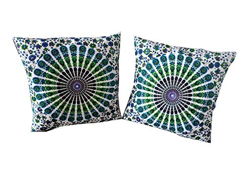 ICC Green Mandala Cushion Cover Set Pack of 2 Decorative Square Pillowcase Throw Pillow Covers Cases for Sofa Bedroom Car 18 x 18 Inches 45 x 45 cms Bed Decor Outdoor Case Living Room Handmade Couch