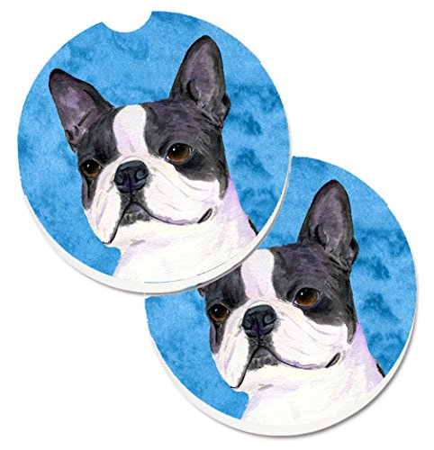 Caroline's Treasures Blue Boston Terrier Set of 2 Cup Holder Car Coasters SS4792-BUCARC, 2.56, Multicolor