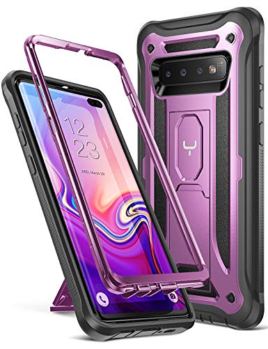 YOUMAKER Kickstand Case for Galaxy S10+ Plus, Heavy Duty Protection Full Body Shockproof Slim Fit Without Built-in Screen Protector Cover for Samsung Galaxy S10 Plus 6.4 inch (2019) - Purple