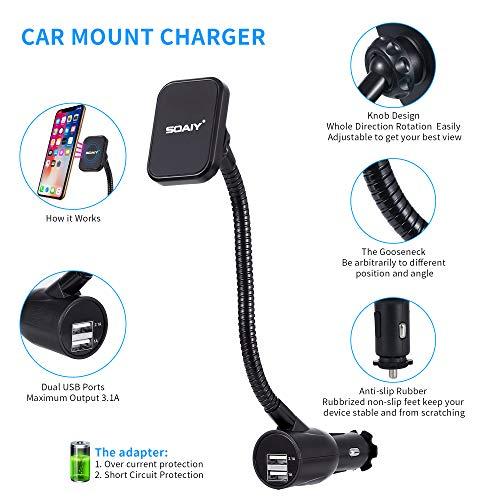 985a79e0681295 SOAIY 3+AC0-In+AC0-1 Cigarette Lighter Magnet Car Mount Car Charger Voltage  Detector Car Holder Cradle w/ Dual USB 3.1A Charger LED Display Voltage  Current ...