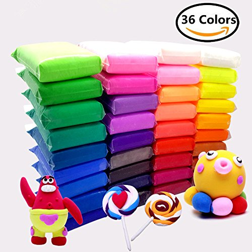Haawooky 36 Bright Color Air Dry Super Light Clay Craft Kit Modeling Clay Artist Studio Toy, Great Gift for Kids