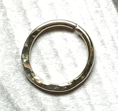14k Bridge Ring - 14K Palladium White Gold Hammered Nose Ring, 16g 18g 20g 22g, 6mm - 12mm, Cartilage Hoop