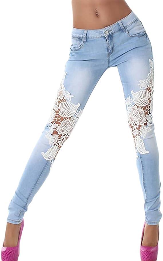 ZKOO Vaqueros Pantalones Mujer Floral Flaco Jeans Flacos Push up Mezclilla Pantalones Leggings