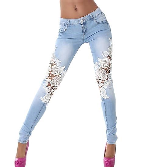 ZKOO Jeans da Donna Pizzo Strappati Pantaloni in Denim Pantaloni Cotone  Elastico Skinny Lunghi Leggings Matita 01ec23f4278