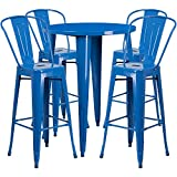 Flash Furniture 30'' Round Blue Metal Indoor-Outdoor Bar Table Set with 4 Cafe Stools