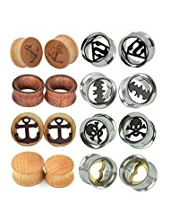D&M Jewelry 8 Pairs Mixed Stainless Steel Wood Flared Batman Superman Heart Anchor Hollow Plugs Tunnels Expanders