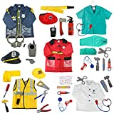 TOPTIE 5 Sets Role Play Costume for Kids Doctor Surgeon Policeman Fire Chief Engineer with Accessories Blue