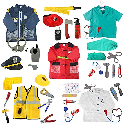 TOPTIE 5 Sets Role Play Costume for Kids Doctor Surgeon Policeman Fire Chief Engineer w/Accessories -
