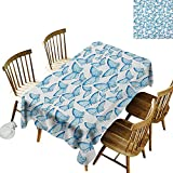 kangkaishi Anti-Wrinkle and Anti-Wrinkle Polyester Long Tablecloth for Weddings/banquets Cute Moths Joy Spiritual Connection Mythical Tribal and Bohemian Themed Print W52 x L70 Inch White Blue