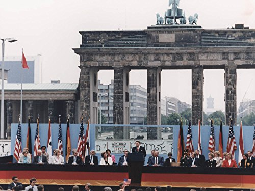 VintPrint Photography Poster - Photograph of President Reagan Giving a Speech at The Berlin Wall Brandenburg Gate Federal Republic of Germany 8.5
