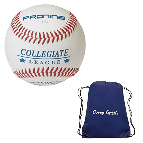 ProNine Flat Low Seam Baseballs Collegiate League Balls (6-Pack) Bundled with Covey Sports Bag
