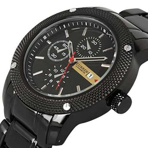 Black Dial Auto (Mens Quartz Watch Stainless Steel Strap Army Auto Date Calendar Wristwatch Black)