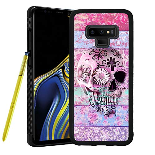 LONHAO Customized Pattern Hard PC Back Soft TPU Edges Phone Case for Samsung Galaxy Note 9 Skull Flower Floral Pattern Daisy Colorful White Pink Cross boy-Black ()