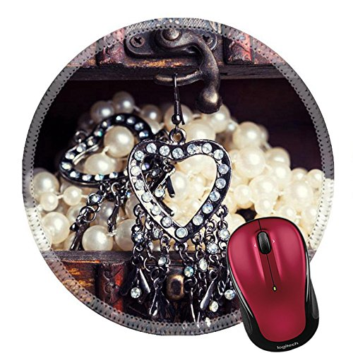 Liili Round Mouse Pad Natural Rubber Mousepads vintage earrings in a form of hearts hanging on old treasure chest 29592960 ()