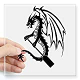 "CafePress - Dragon With Paddle Logo Sticker - Square Bumper Sticker Car Decal, 3""x3"" (Small) or 5""x5"" (Large)"