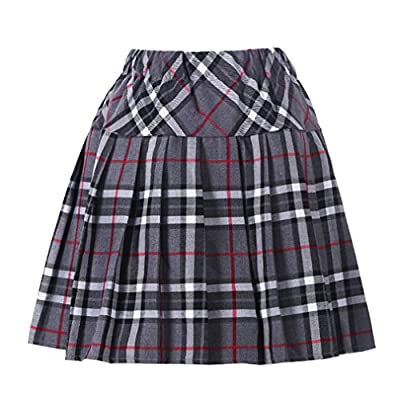 Women`s Plaid navy clothing Elasticated Pleated Skirt(XL,Grey mixed black)