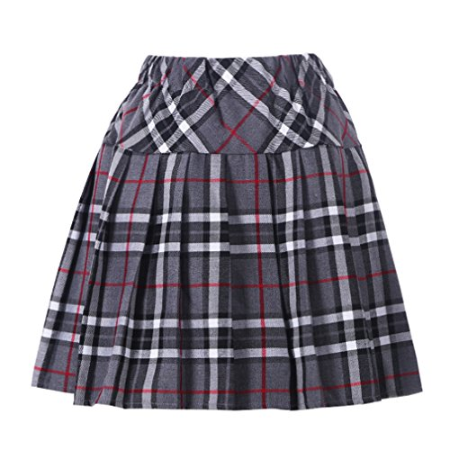 Genetic Los Angeles Women`s Elasticated Pleated Checkered Short Skirt(XL,Grey Mixed Black) -