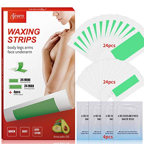 Wax Strips, Ajoura Hair Removal Strips for Face Leg Eyebrow Bikini Brazilian Underarm Women men, Waxing Strips with 48 Count Double Size Cold Wax Strips & 4 Post Care Wipes (Best Wax For Eyebrow Removal)