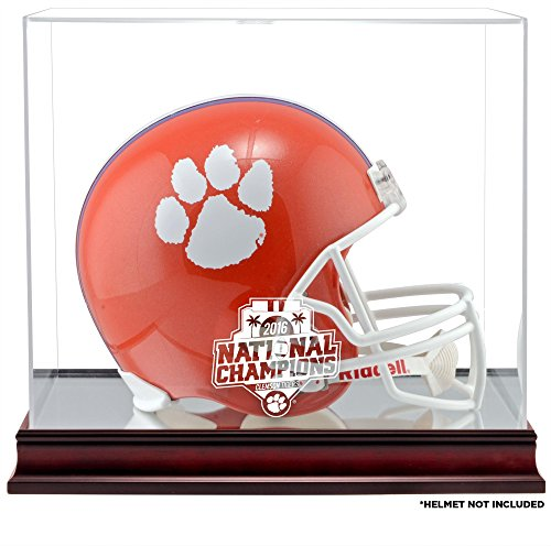 Sports Memorabilia Clemson Tigers College Football Playoff 2016 National Champions Logo Mahogany Helmet Display Case - College Football Helmet Free Standing Display Cases