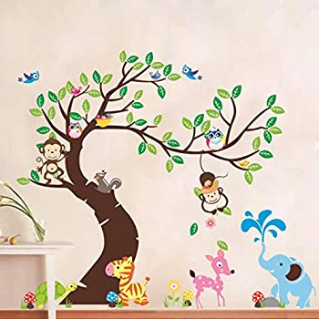 Rainbow Fox Lovely Blooms Zoo Nursery Children's Room Decorative Wall Stickers (RF1214)