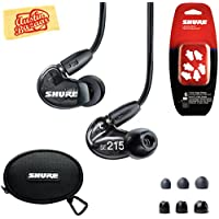 Shure SE215 Sound Isolating Earphones - Translucent Black Bundle with Triple Flange Sleeves, Sleeve Fit Kit, Carrying Case, Polishing Cloth