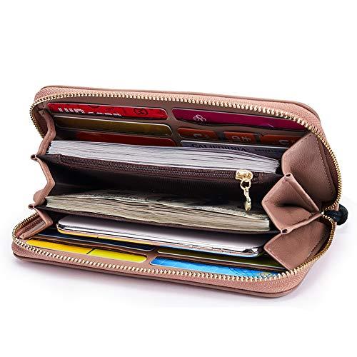Leather Zip Around Wristlet Clutch Purse Ladies Multi Card Holder pink ()