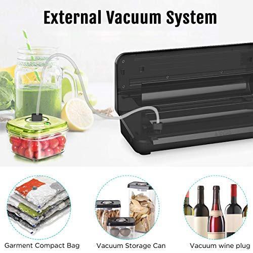 ENZOO Vacuum Sealer Machine, Automatic Vacuum Air Sealing System for Food Preservation with Built-in Cutter w/Starter Kit|Led Indicator Lights|Easy to Clean|Dry & Moist Food Modes (Silver)
