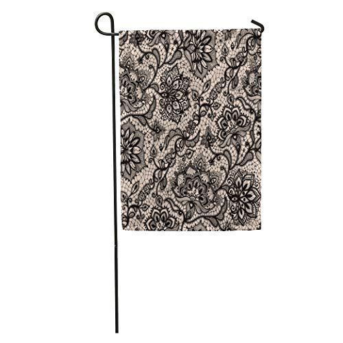 Semtomn Garden Flag Love Abstract Lace Pattern Flowers and Butterflies Infinitely Lingerie Jewelry Home Yard House Decor Barnner Outdoor Stand 28x40 Inches Flag
