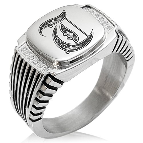Two-Tone Stainless Steel Letter T Alphabet Initial Royal Monogram Engraved Clear Cubic Zirconia Ribbed Needle Stripe Pattern Biker Style Polished Ring, Size 10