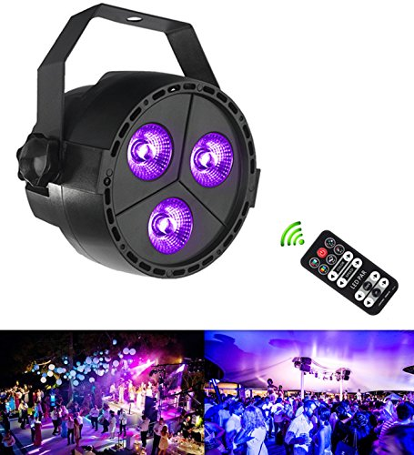 Rainiers remove control Stage Lights Par Up Lighting LED Par Lights with 4in1 3x4-watts LED RGB/UV Color Mixing by 8CH DMX512 DJ Control for Wedding, KTV, Bar ,Pub,Party]()