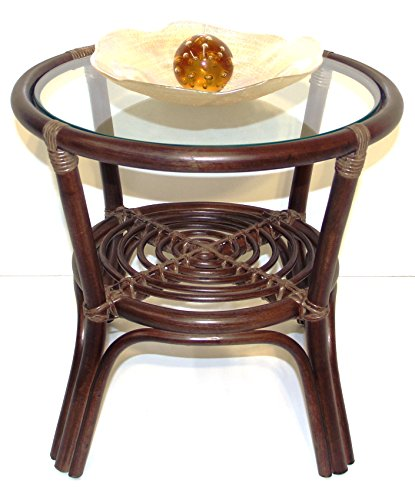 Rich Coffee Round Small Table w/ Glass Top Wicker Eco Rattan Handmade Color Dark Brown (Wicker Round Coffee Table)