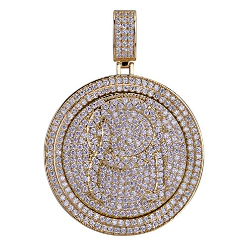 JINAO Micropave CZ Iced Out Spinner Round 69 Pendant Necklace Hip Hop Jewelry (Gold - QC Quality Control) (Qc Chain Gold)