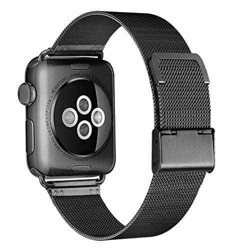 HILIMNY Compatible for Apple Watch Band 38mm 40mm, Stainless Steel Mesh Sport Wristband Loop with Adjustable Magnet Clasp for iWatch Series 1/2 / 3/4, ()