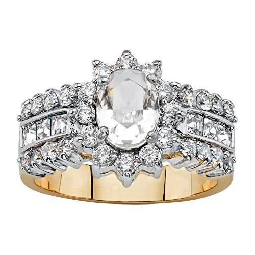 14K Gold-plated Oval Cut Crystal and Cubic Zirconia Ring MADE WITH SWAROVSKI ELEMENTS Size 9 - Oval Cluster Ring