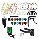 Guitar Accessories Kit All-in 1 Guitar Tool Changing Kit Replaceable Accessories Including Guitar Picks, Capo, Acoustic Guitar Strings, String Winder, Bridge Pins, Pin Puller, Picks & Pick Holder