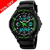 Viliysun Child Watch Multi Function Digital LED Sport Waterproof Electronic Quartz Watches for Boy Girls Kids Gift Green Rating