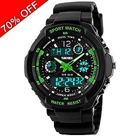 Viliysun Child Watch Multi Function Digital LED Sport Waterproof Electronic Quartz Watches for Boy Girls Kids Gift Green
