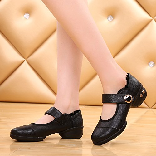 Abby 1801 Womens Jazz Dance Shoes Round Toe Split Sole Mary Jane PU Sneakers Black JicTHzFE