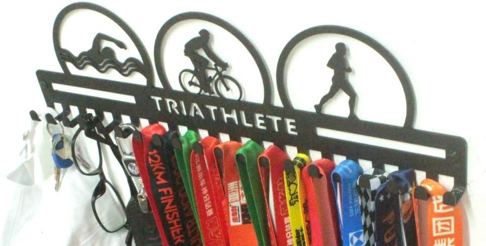 URBN Metal Wall Mount Triathlete Triathlon Swim Bike Run Sports Medal Hanger and Lanyard Ribbon Display Holder Rack with Easy Hanging Hooks /& Simple Install