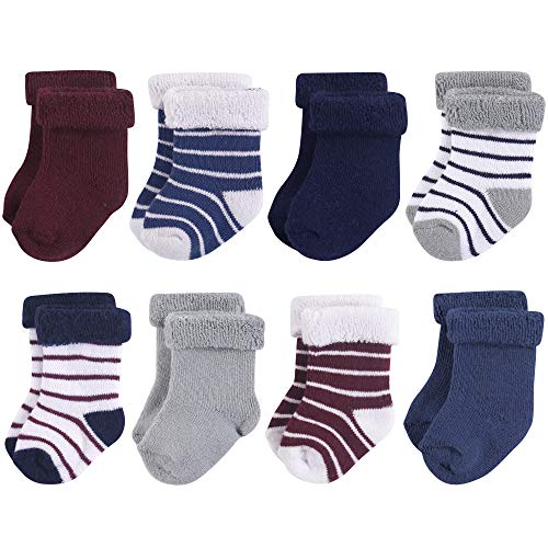 Hudson Baby Baby Basic Socks, Navy Gray Stripes 8-Pack 0-6 Months