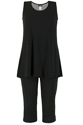 Dot Capri Set Clothes (Jostar Women's Stretchy Tank Capri Pant Set Print Large Black Dots)