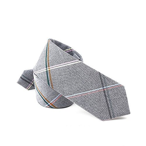 (Hello Tie Unisex Cotton Skinny Necktie Plaid Stripes Narrow Tie)