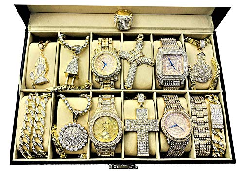 Bling-ed Out Rappers Fashion - A Glamorous Collection of Ice'd Out Chains with Fully Blinged Out Luxurious Gold Watches and a Ring - GChains12 from Charles Raymond