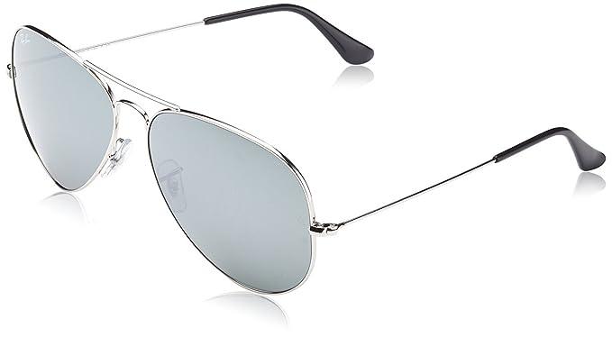 Gafas de sol Ray-Ban de espejo de aviador, 58 mm, plateadas ...